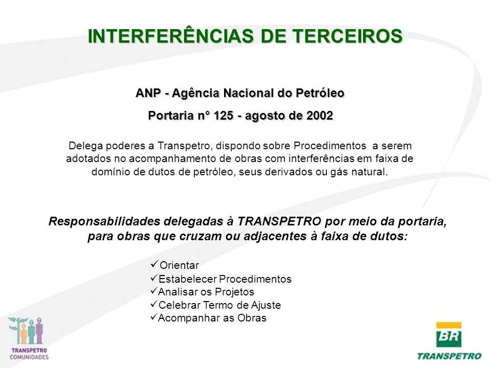 ANP - Agência Nacional do Petróleo Portaria n° 125 - agosto de 2002 Responsabilidades delegadas à TRANSPETRO por meio da portaria, para obras que cruz