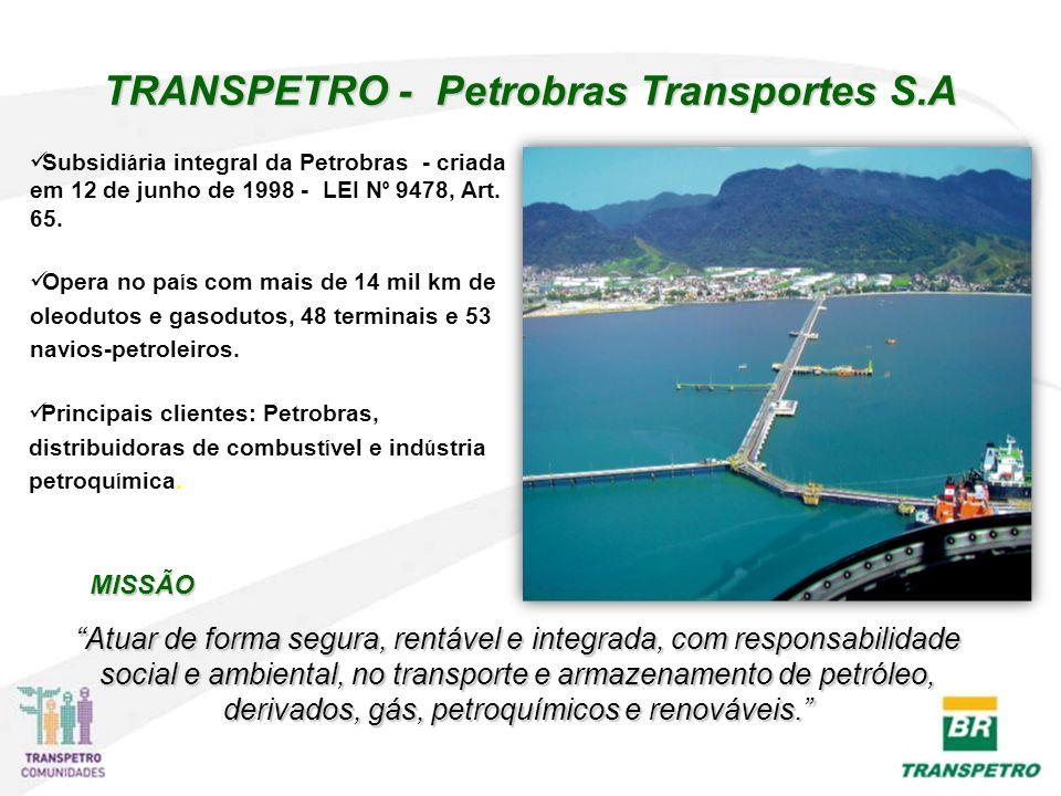 TRANSPETRO - Petrobras Transportes S.A Subsidi á ria integral da Petrobras - criada em 12 de junho de 1998 - LEI N º 9478, Art. 65. Opera no pa í s co