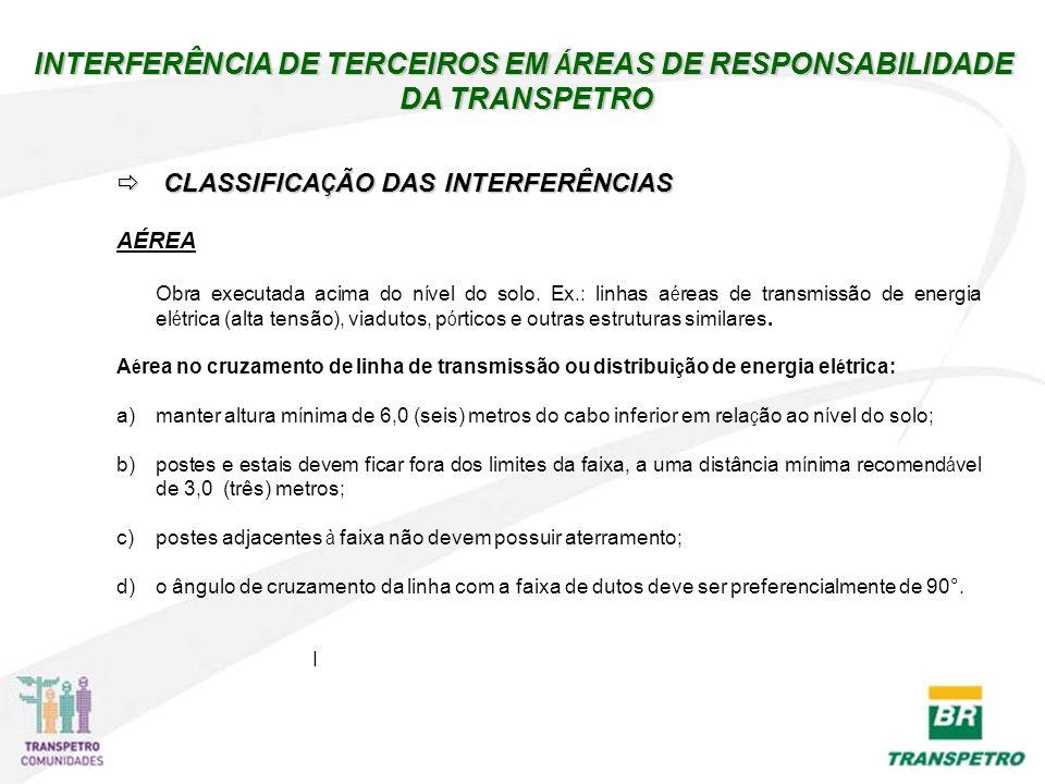 INTERFERÊNCIA DE TERCEIROS EM Á REAS DE RESPONSABILIDADE DA TRANSPETRO DA TRANSPETRO CLASSIFICA Ç ÃO DAS INTERFERÊNCIAS CLASSIFICA Ç ÃO DAS INTERFERÊN