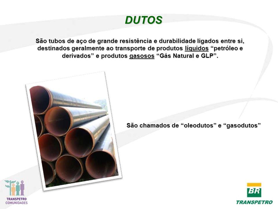 DUTOS São chamados de oleodutos e gasodutos São tubos de aço de grande resistência e durabilidade ligados entre si, destinados geralmente ao transporte de produtos líquidos petróleo e derivados e produtos gasosos Gás Natural e GLP.