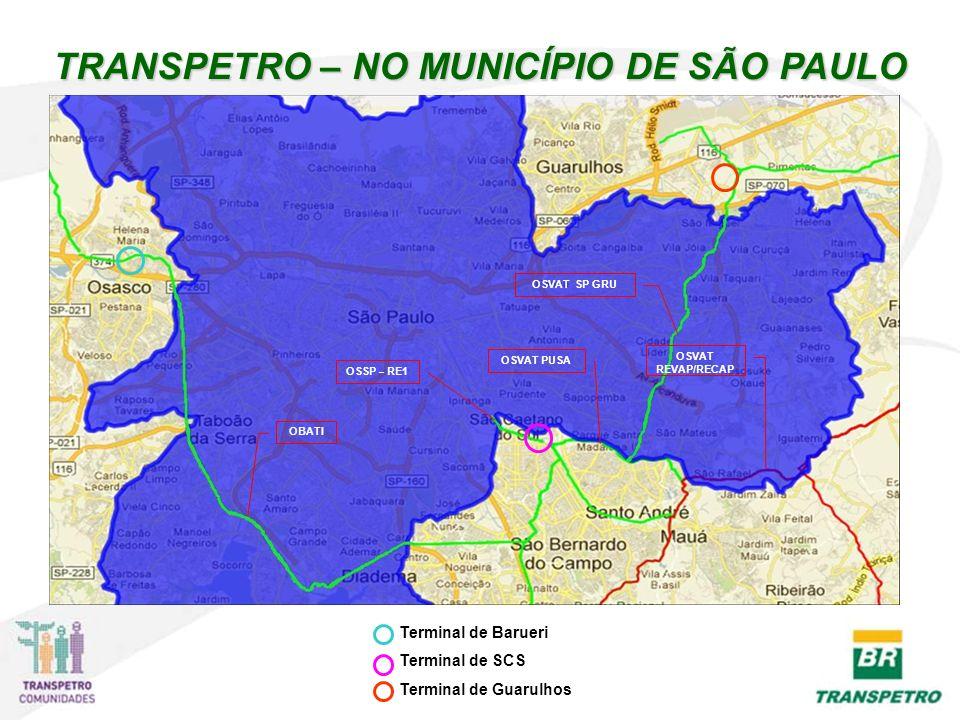 TRANSPETRO – NO MUNICÍPIO DE SÃO PAULO OBATI OSSP – RE1 OSVAT PUSA OSVAT SP GRU Terminal de Barueri Terminal de SCS Terminal de Guarulhos OSVAT REVAP/