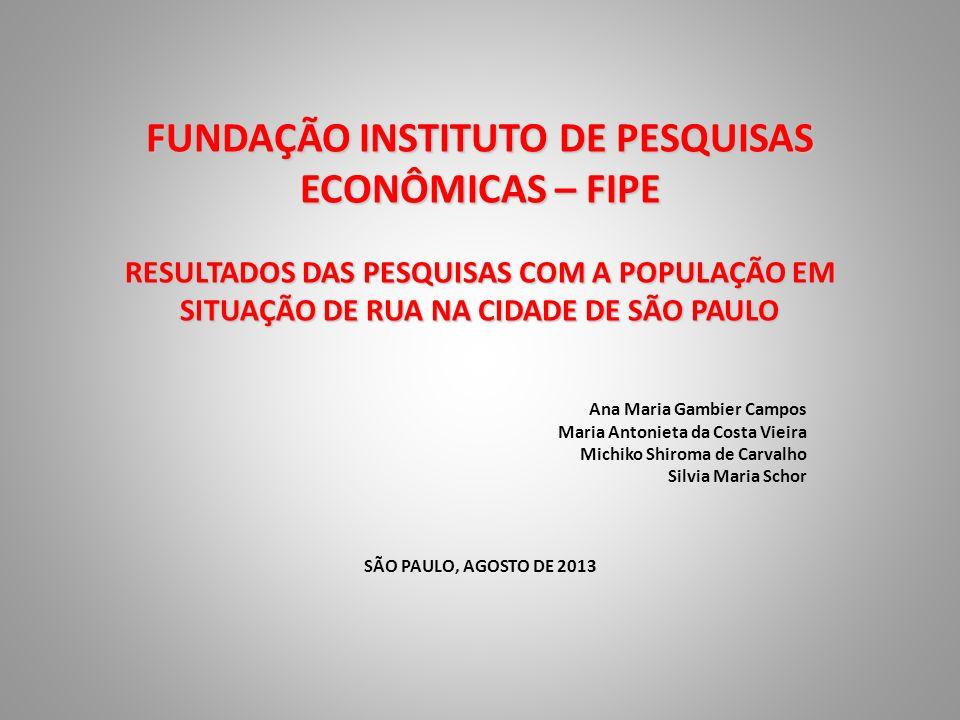 FUNDAÇÃO INSTITUTO DE PESQUISAS ECONÔMICAS – FIPE RESULTADOS DAS PESQUISAS COM A POPULAÇÃO EM SITUAÇÃO DE RUA NA CIDADE DE SÃO PAULO Ana Maria Gambier