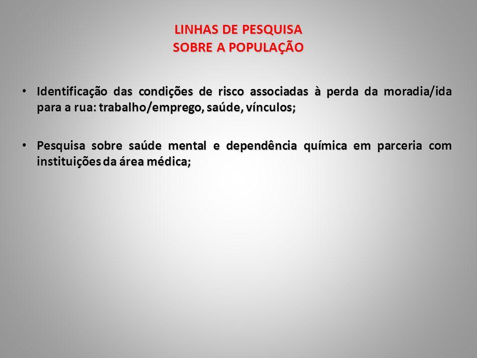 LINHAS DE PESQUISA SOBRE A POPULAÇÃO Identificação das condições de risco associadas à perda da moradia/ida para a rua: trabalho/emprego, saúde, víncu
