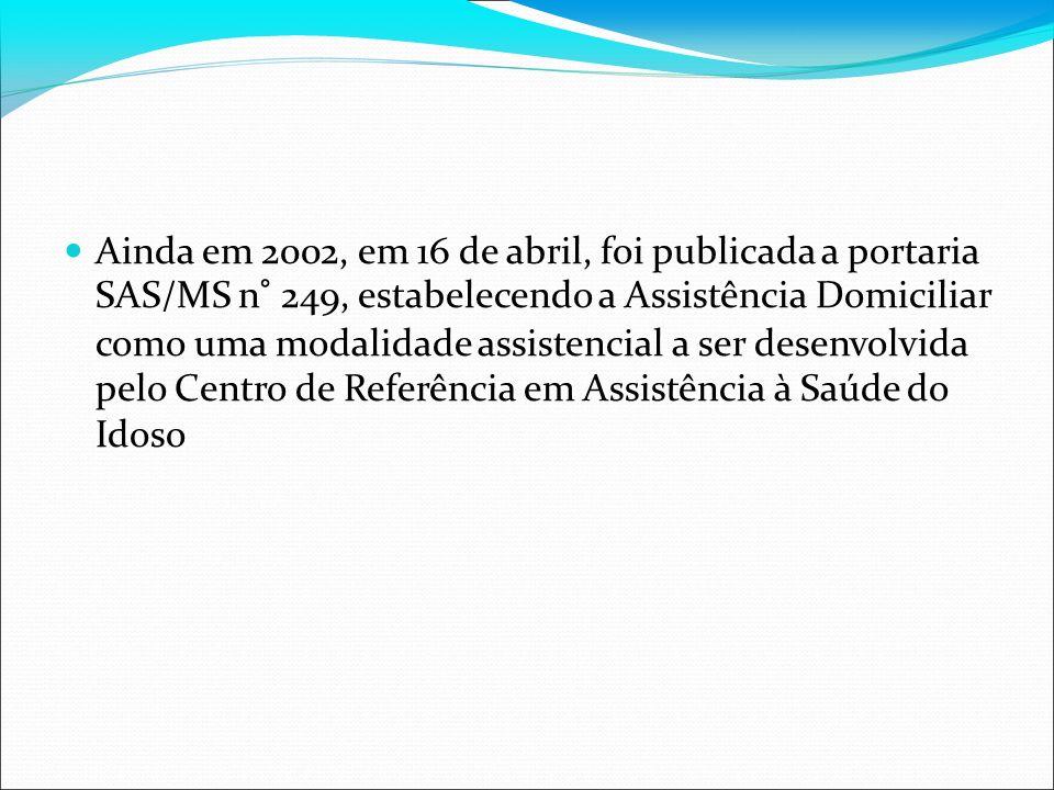 Ainda em 2002, em 16 de abril, foi publicada a portaria SAS/MS n° 249, estabelecendo a Assistência Domiciliar como uma modalidade assistencial a ser d