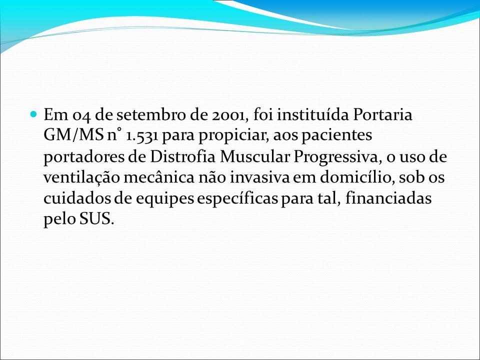 Em 04 de setembro de 2001, foi instituída Portaria GM/MS n° 1.531 para propiciar, aos pacientes portadores de Distrofia Muscular Progressiva, o uso de