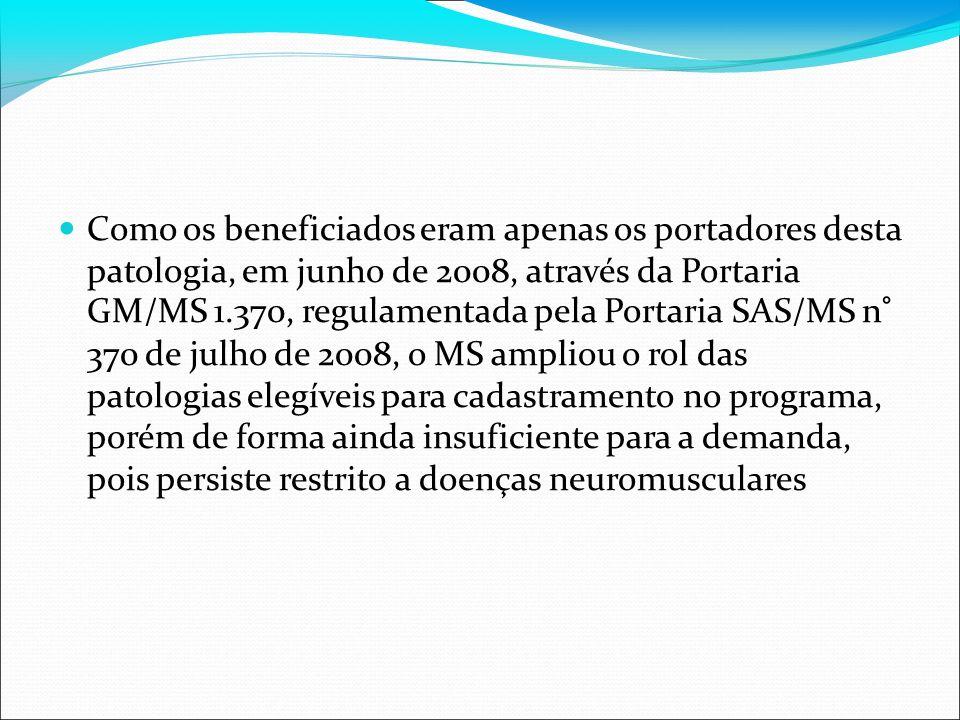 Como os beneficiados eram apenas os portadores desta patologia, em junho de 2008, através da Portaria GM/MS 1.370, regulamentada pela Portaria SAS/MS