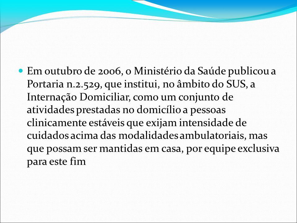 Em outubro de 2006, o Ministério da Saúde publicou a Portaria n.2.529, que institui, no âmbito do SUS, a Internação Domiciliar, como um conjunto de at