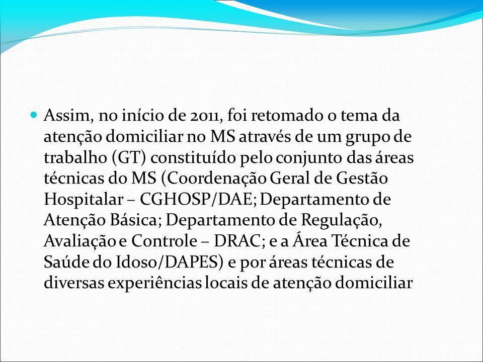Assim, no início de 2011, foi retomado o tema da atenção domiciliar no MS através de um grupo de trabalho (GT) constituído pelo conjunto das áreas téc