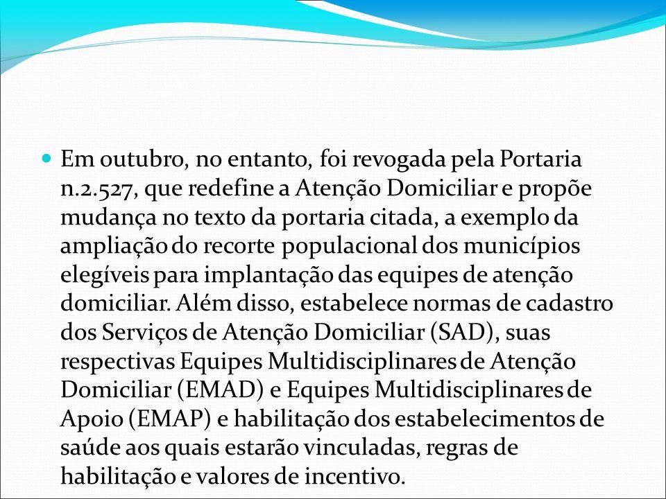 Em outubro, no entanto, foi revogada pela Portaria n.2.527, que redefine a Atenção Domiciliar e propõe mudança no texto da portaria citada, a exemplo