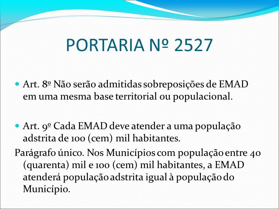 PORTARIA Nº 2527 Art. 8º Não serão admitidas sobreposições de EMAD em uma mesma base territorial ou populacional. Art. 9º Cada EMAD deve atender a uma