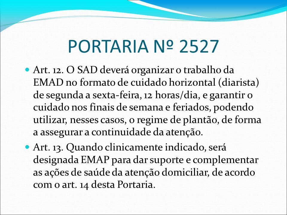 PORTARIA Nº 2527 Art. 12. O SAD deverá organizar o trabalho da EMAD no formato de cuidado horizontal (diarista) de segunda a sexta-feira, 12 horas/dia