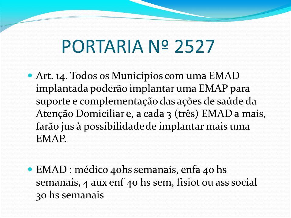 PORTARIA Nº 2527 Art. 14. Todos os Municípios com uma EMAD implantada poderão implantar uma EMAP para suporte e complementação das ações de saúde da A