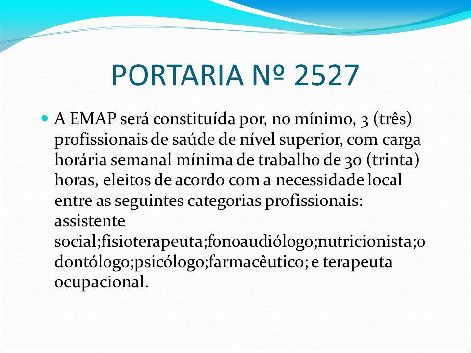 PORTARIA Nº 2527 A EMAP será constituída por, no mínimo, 3 (três) profissionais de saúde de nível superior, com carga horária semanal mínima de trabal