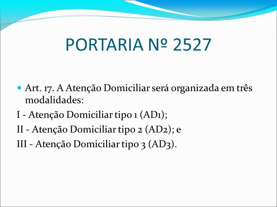 PORTARIA Nº 2527 Art. 17. A Atenção Domiciliar será organizada em três modalidades: I - Atenção Domiciliar tipo 1 (AD1); II - Atenção Domiciliar tipo