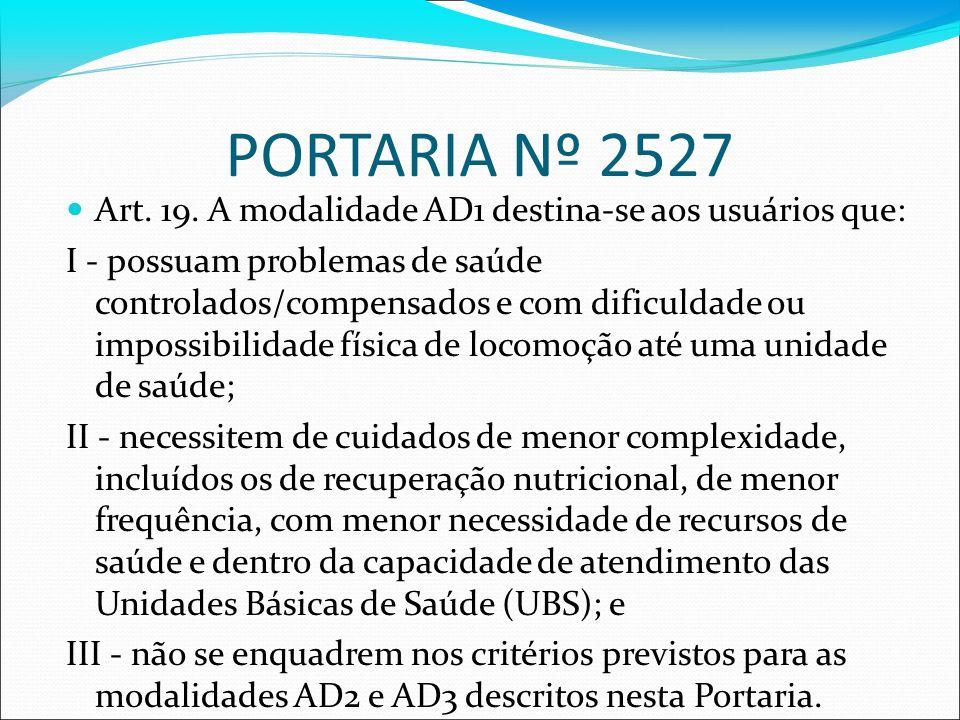 PORTARIA Nº 2527 Art. 19. A modalidade AD1 destina-se aos usuários que: I - possuam problemas de saúde controlados/compensados e com dificuldade ou im