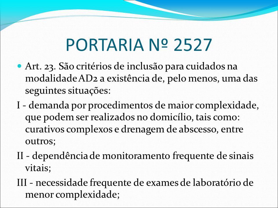 PORTARIA Nº 2527 Art. 23. São critérios de inclusão para cuidados na modalidade AD2 a existência de, pelo menos, uma das seguintes situações: I - dema