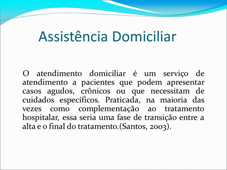 Assistência Domiciliar O atendimento domiciliar é um serviço de atendimento a pacientes que podem apresentar casos agudos, crônicos ou que necessitam