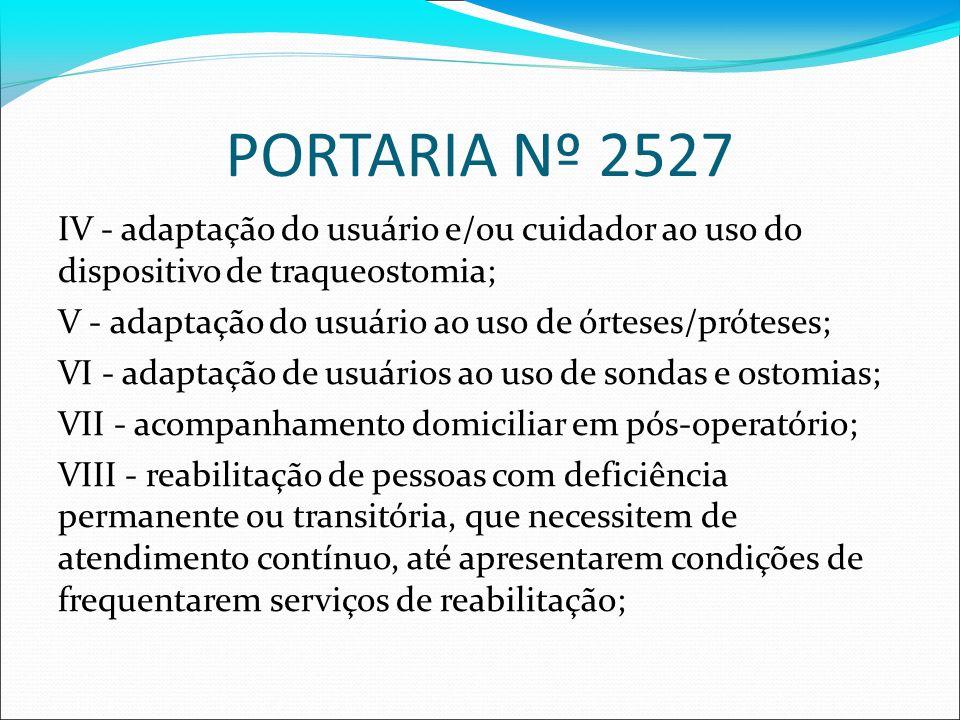 PORTARIA Nº 2527 IV - adaptação do usuário e/ou cuidador ao uso do dispositivo de traqueostomia; V - adaptação do usuário ao uso de órteses/próteses;