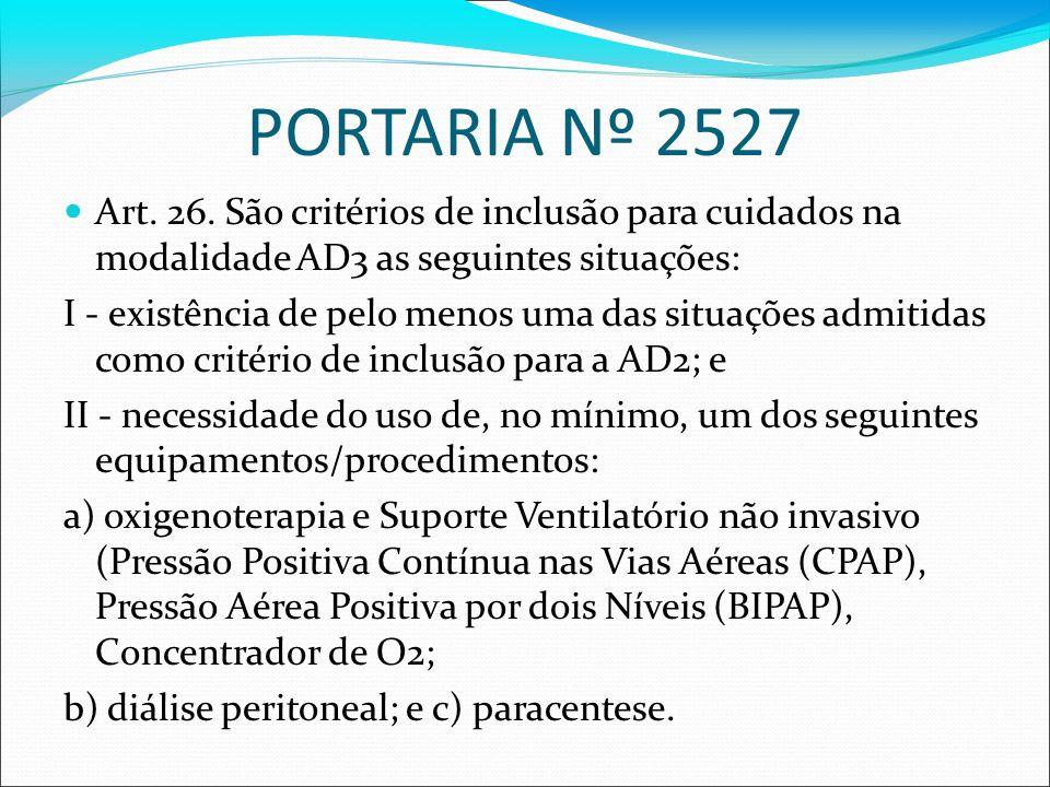 PORTARIA Nº 2527 Art. 26. São critérios de inclusão para cuidados na modalidade AD3 as seguintes situações: I - existência de pelo menos uma das situa