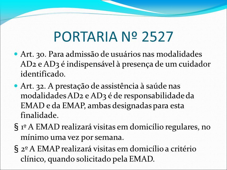 PORTARIA Nº 2527 Art. 30. Para admissão de usuários nas modalidades AD2 e AD3 é indispensável à presença de um cuidador identificado. Art. 32. A prest