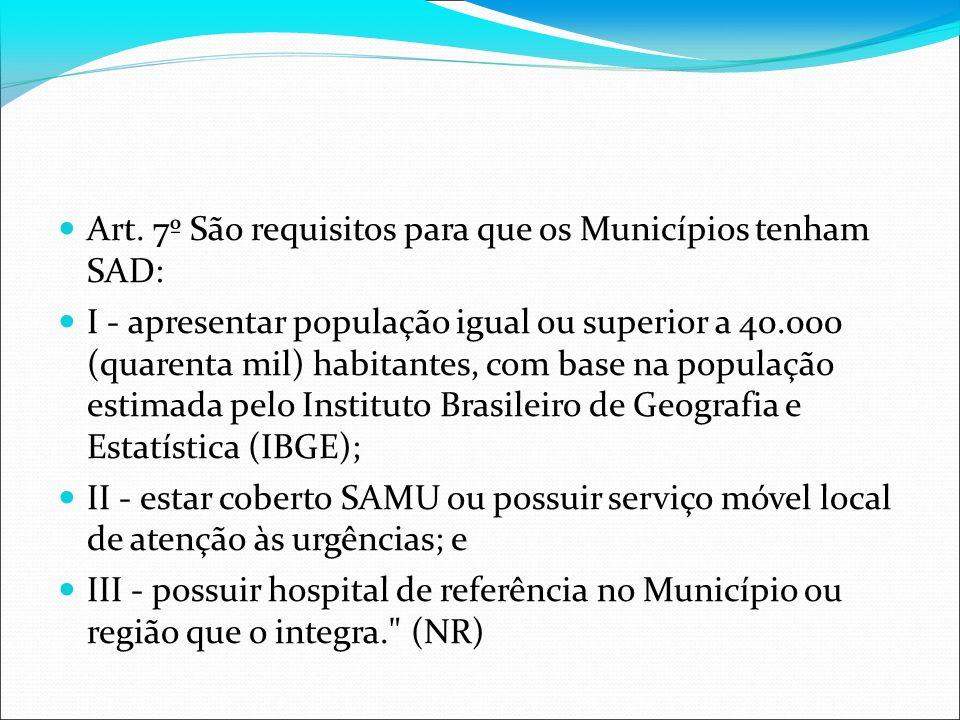 Art. 7º São requisitos para que os Municípios tenham SAD: I - apresentar população igual ou superior a 40.000 (quarenta mil) habitantes, com base na p