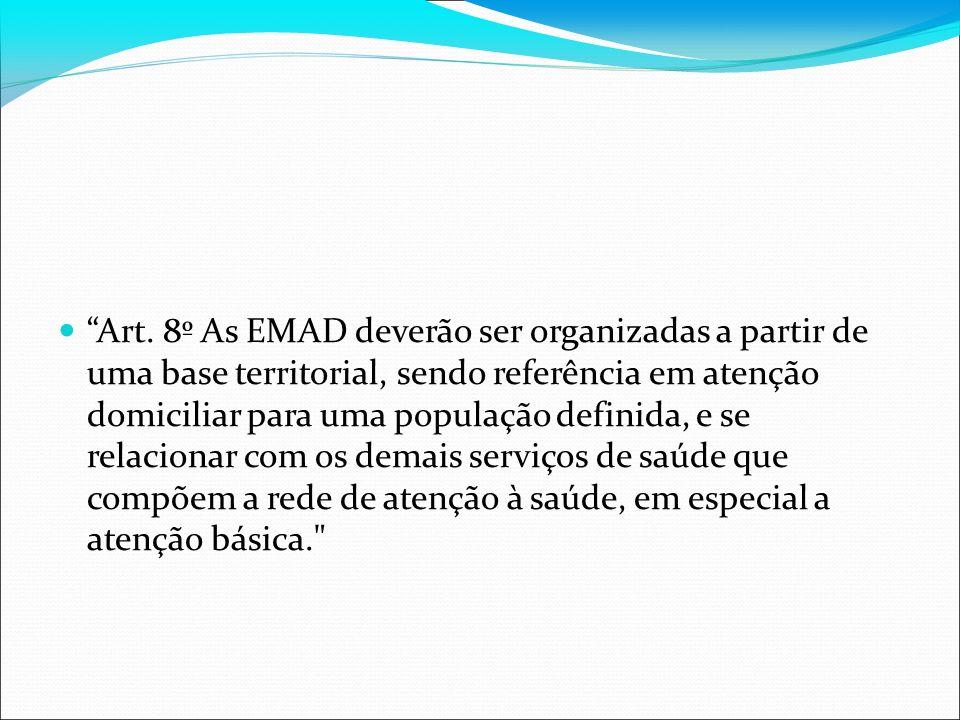 Art. 8º As EMAD deverão ser organizadas a partir de uma base territorial, sendo referência em atenção domiciliar para uma população definida, e se rel