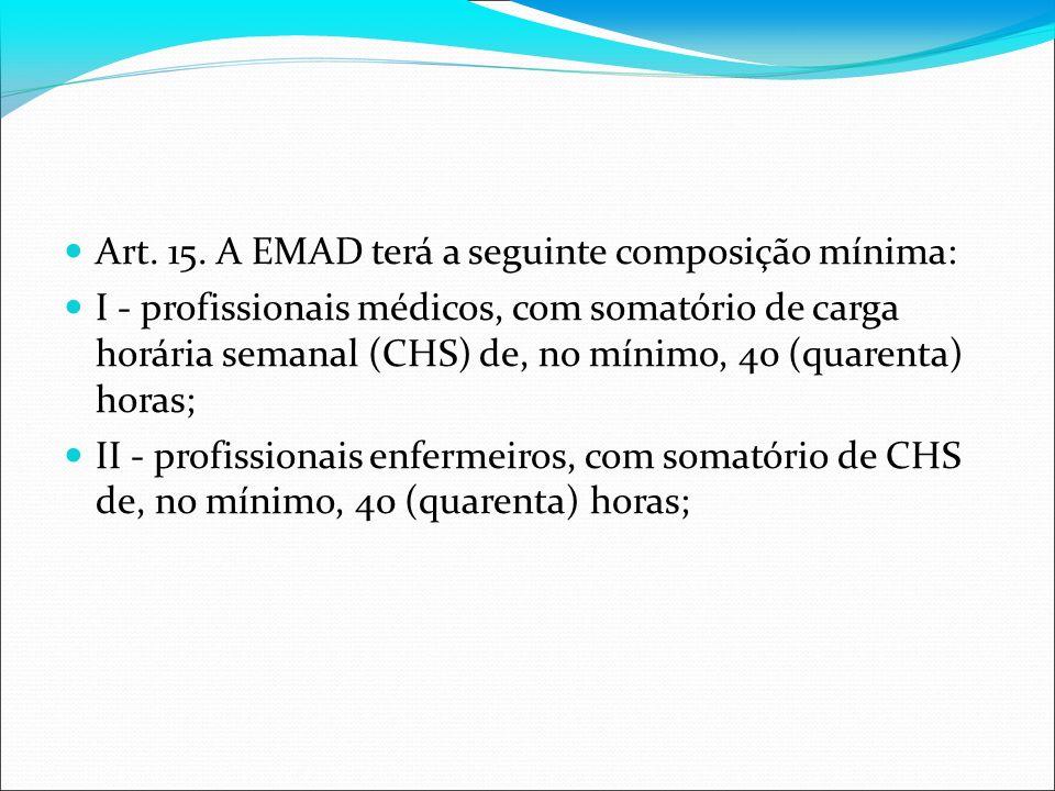 Art. 15. A EMAD terá a seguinte composição mínima: I - profissionais médicos, com somatório de carga horária semanal (CHS) de, no mínimo, 40 (quarenta