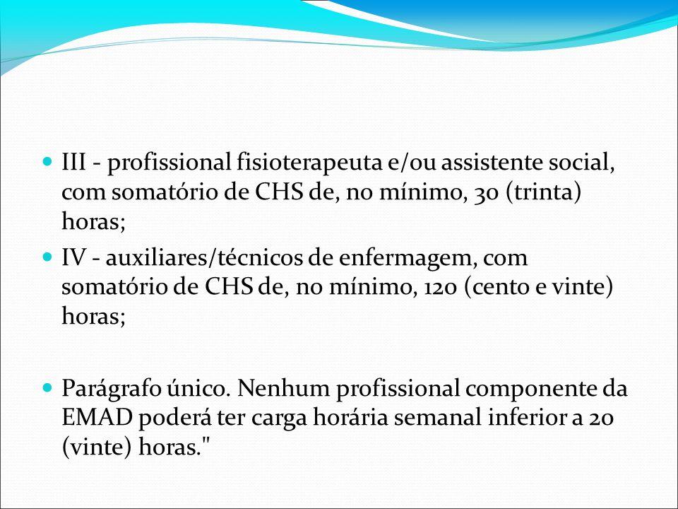 III - profissional fisioterapeuta e/ou assistente social, com somatório de CHS de, no mínimo, 30 (trinta) horas; IV - auxiliares/técnicos de enfermage