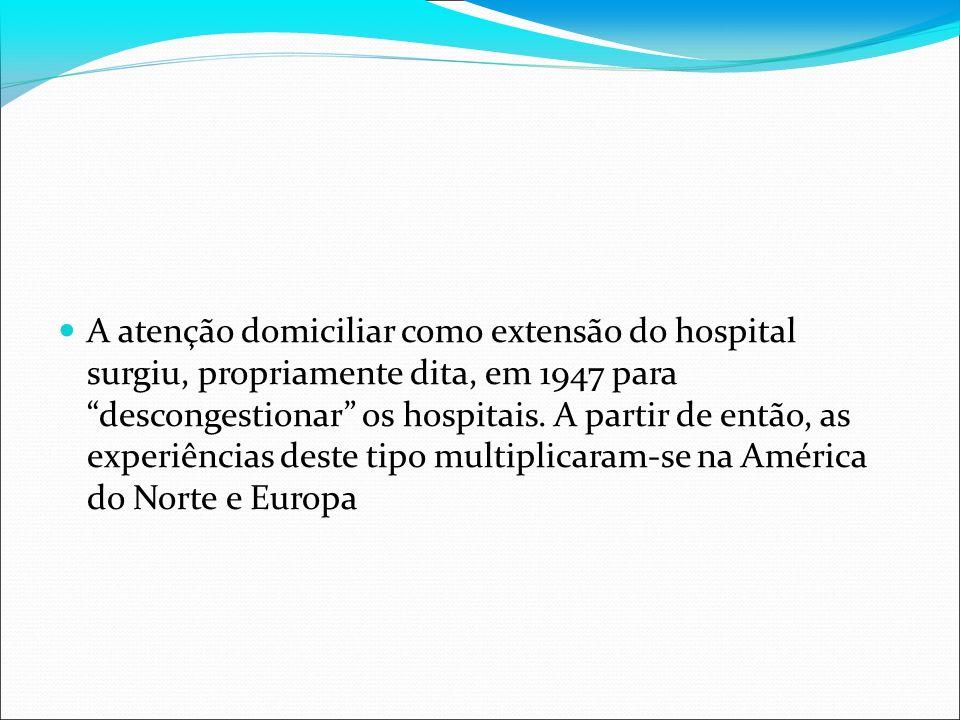 A atenção domiciliar como extensão do hospital surgiu, propriamente dita, em 1947 para descongestionar os hospitais. A partir de então, as experiência