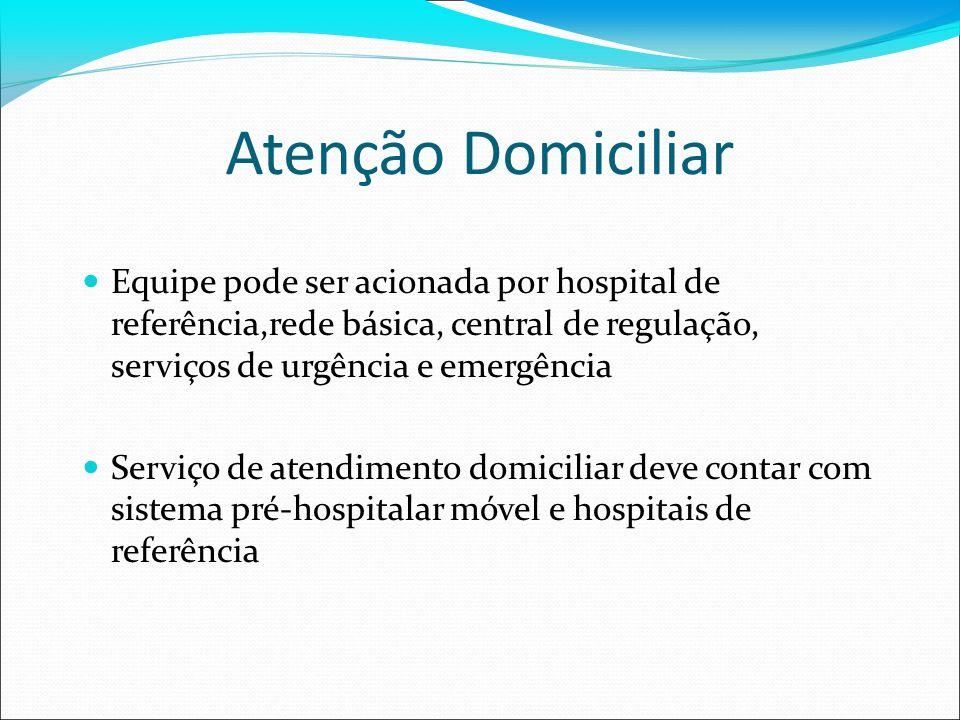 Atenção Domiciliar Equipe pode ser acionada por hospital de referência,rede básica, central de regulação, serviços de urgência e emergência Serviço de