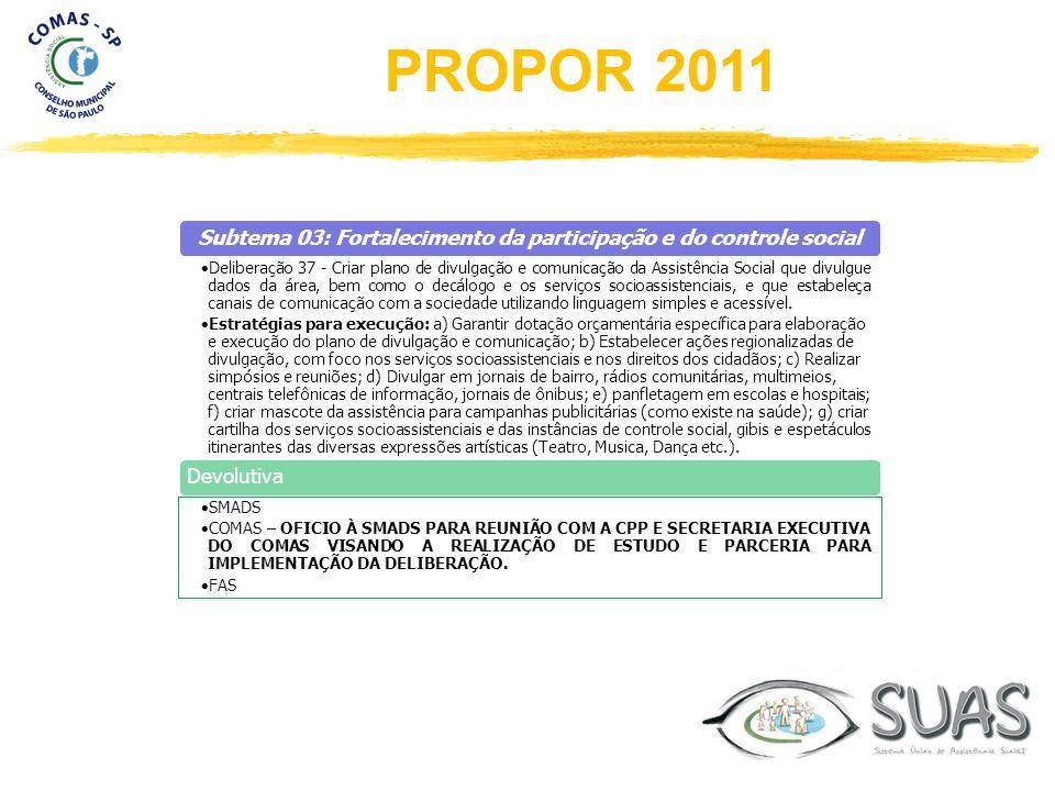 Subtema 03: Fortalecimento da participação e do controle social Deliberação 37 - Criar plano de divulgação e comunicação da Assistência Social que div
