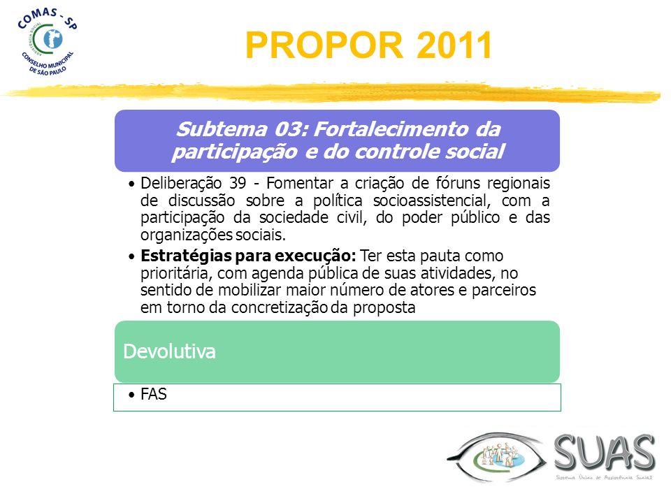 Subtema 03: Fortalecimento da participação e do controle social Deliberação 39 - Fomentar a criação de fóruns regionais de discussão sobre a política
