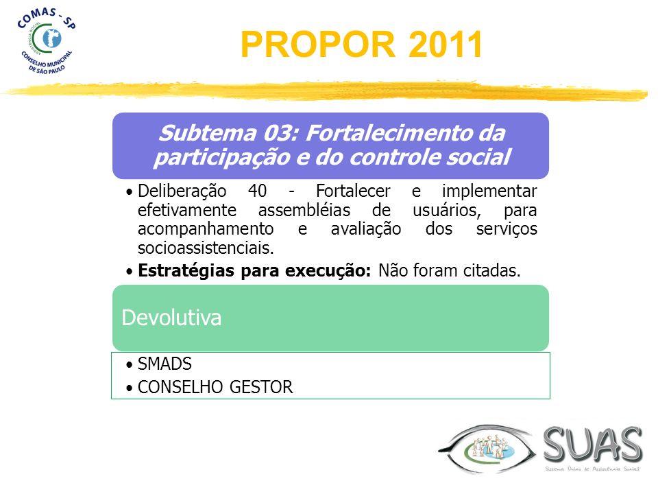 Subtema 03: Fortalecimento da participação e do controle social Deliberação 40 - Fortalecer e implementar efetivamente assembléias de usuários, para a