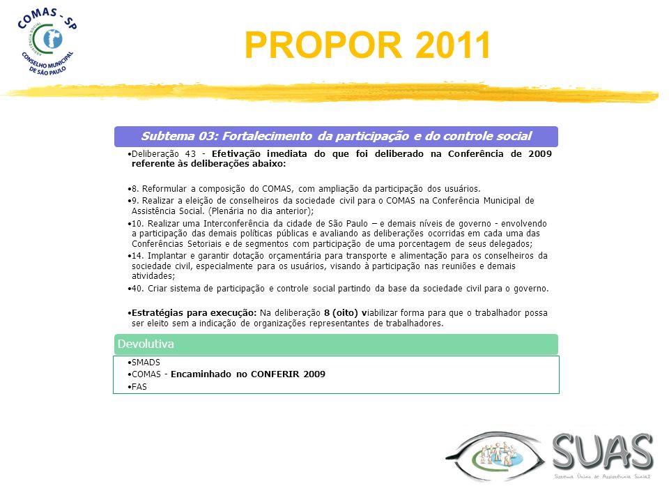 Subtema 03: Fortalecimento da participação e do controle social Deliberação 43 - Efetivação imediata do que foi deliberado na Conferência de 2009 refe