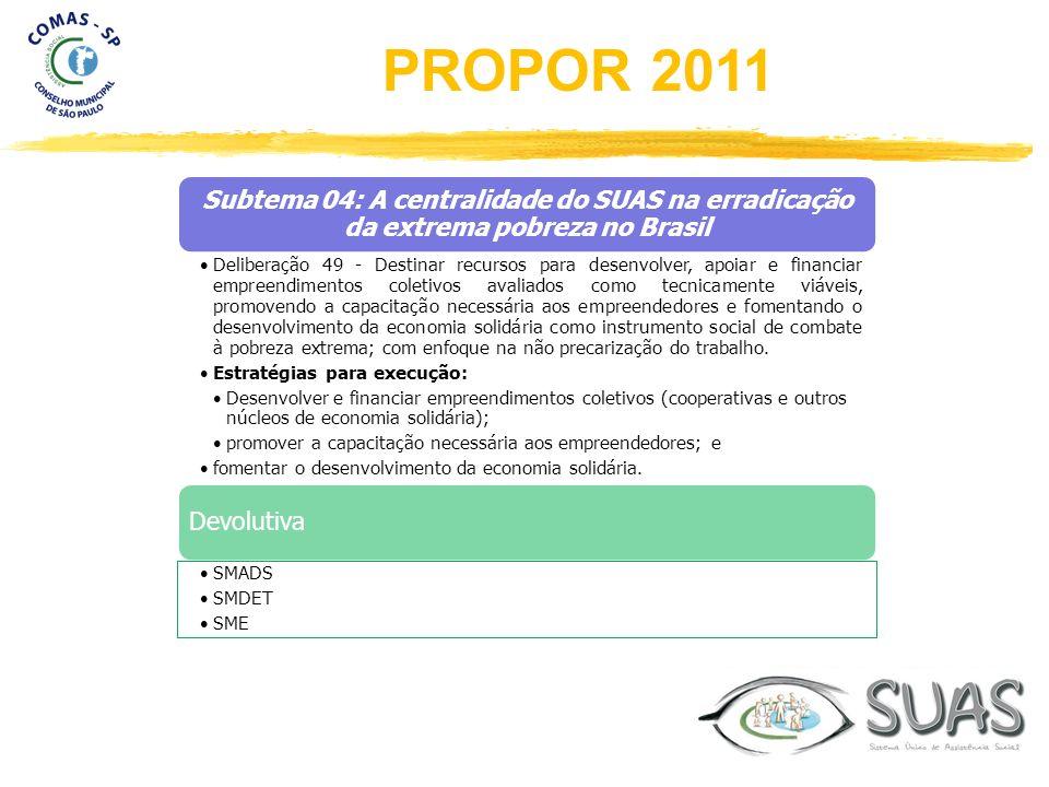 Subtema 04: A centralidade do SUAS na erradicação da extrema pobreza no Brasil Deliberação 49 - Destinar recursos para desenvolver, apoiar e financiar