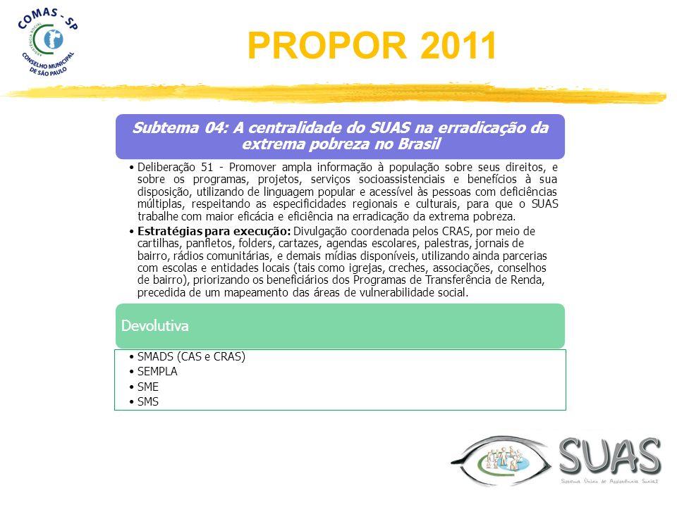 Subtema 04: A centralidade do SUAS na erradicação da extrema pobreza no Brasil Deliberação 51 - Promover ampla informação à população sobre seus direi