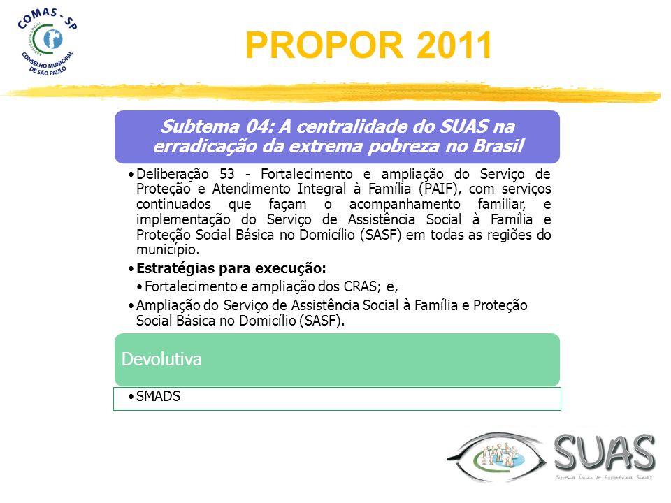 Subtema 04: A centralidade do SUAS na erradicação da extrema pobreza no Brasil Deliberação 53 - Fortalecimento e ampliação do Serviço de Proteção e At