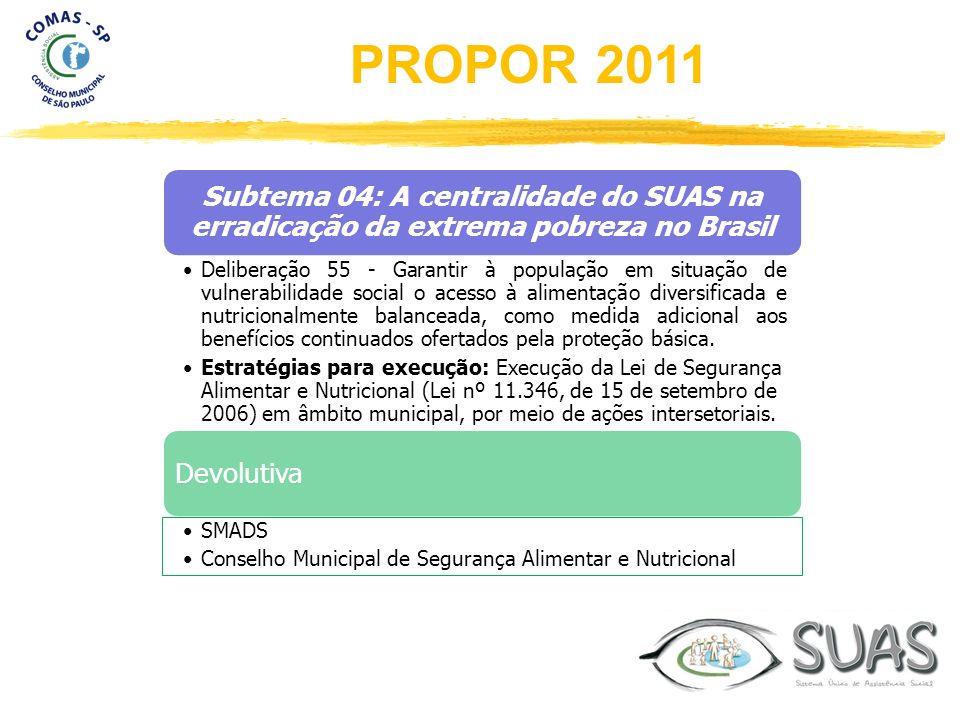 Subtema 04: A centralidade do SUAS na erradicação da extrema pobreza no Brasil Deliberação 55 - Garantir à população em situação de vulnerabilidade so
