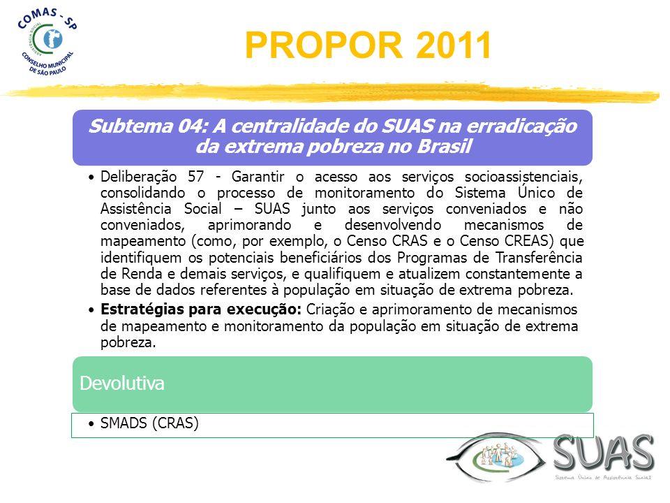 Subtema 04: A centralidade do SUAS na erradicação da extrema pobreza no Brasil Deliberação 57 - Garantir o acesso aos serviços socioassistenciais, con