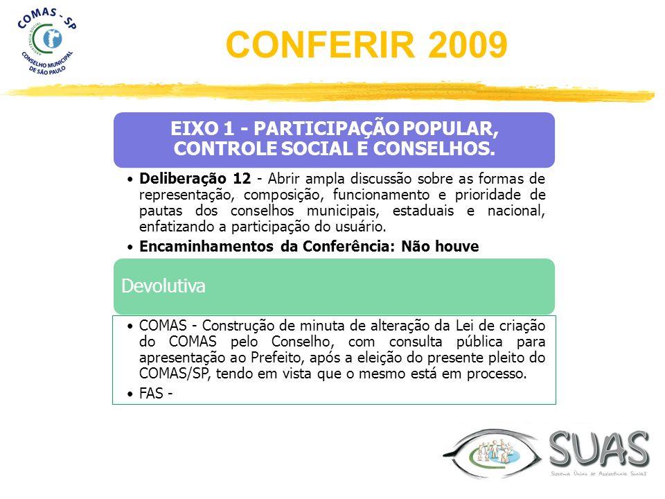 EIXO 1 - PARTICIPAÇÃO POPULAR, CONTROLE SOCIAL E CONSELHOS. Deliberação 12 - Abrir ampla discussão sobre as formas de representação, composição, funci