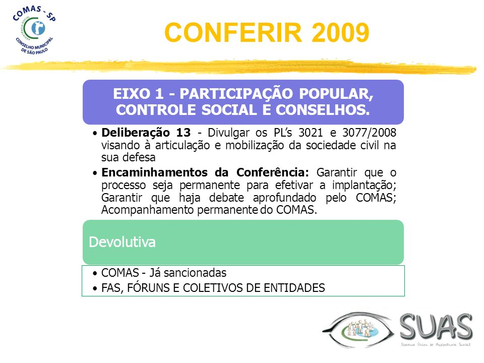EIXO 1 - PARTICIPAÇÃO POPULAR, CONTROLE SOCIAL E CONSELHOS. Deliberação 13 - Divulgar os PLs 3021 e 3077/2008 visando à articulação e mobilização da s