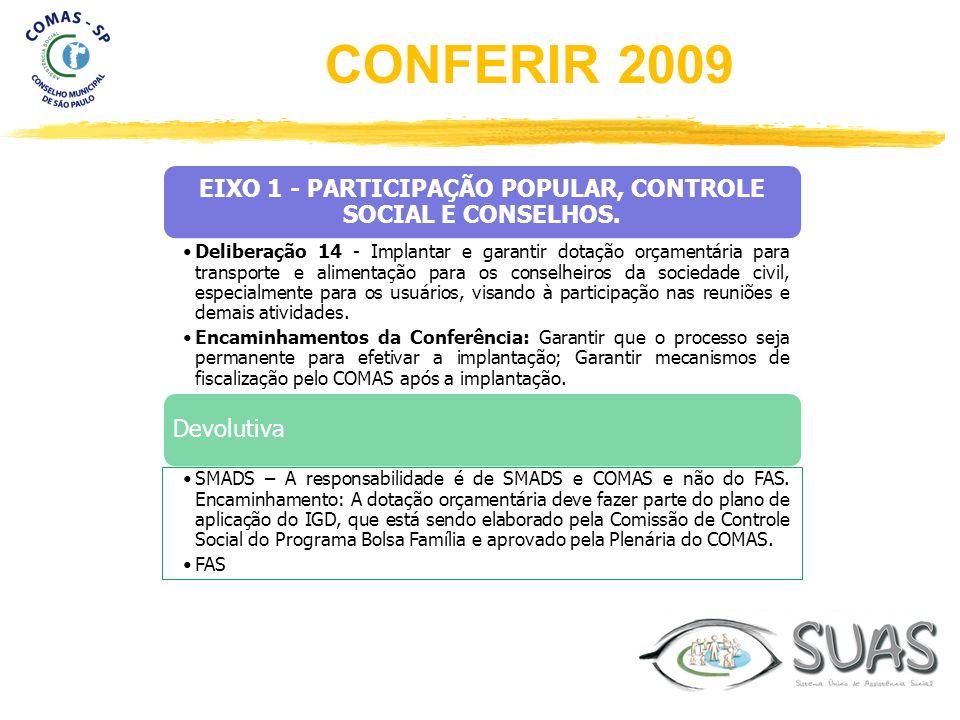 EIXO 1 - PARTICIPAÇÃO POPULAR, CONTROLE SOCIAL E CONSELHOS. Deliberação 14 - Implantar e garantir dotação orçamentária para transporte e alimentação p