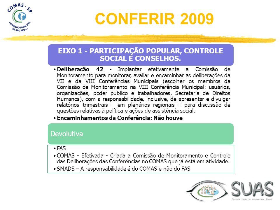 EIXO 1 - PARTICIPAÇÃO POPULAR, CONTROLE SOCIAL E CONSELHOS. Deliberação 42 - Implantar efetivamente a Comissão de Monitoramento para monitorar, avalia