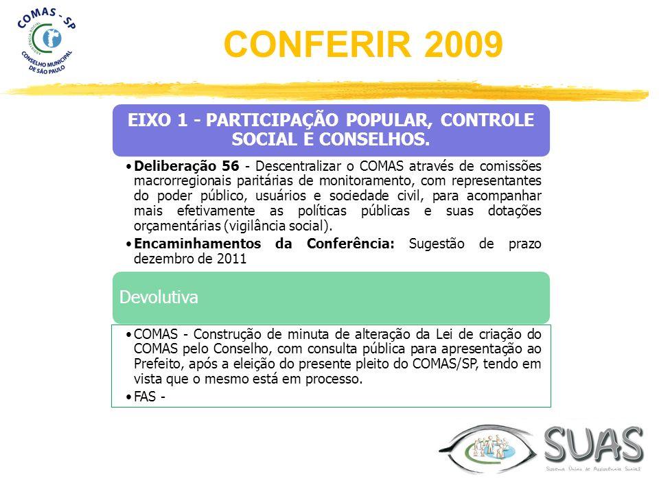 EIXO 1 - PARTICIPAÇÃO POPULAR, CONTROLE SOCIAL E CONSELHOS. Deliberação 56 - Descentralizar o COMAS através de comissões macrorregionais paritárias de