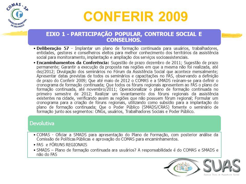 EIXO 1 - PARTICIPAÇÃO POPULAR, CONTROLE SOCIAL E CONSELHOS. Deliberação 57 - Implantar um plano de formação continuada para usuários, trabalhadores, e