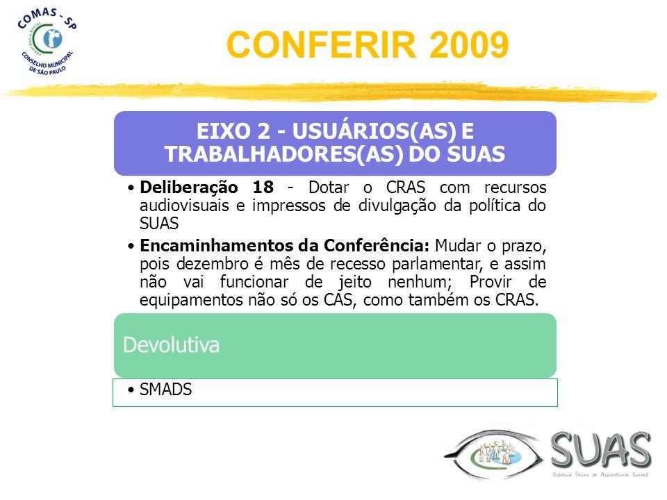 EIXO 2 - USUÁRIOS(AS) E TRABALHADORES(AS) DO SUAS Deliberação 18 - Dotar o CRAS com recursos audiovisuais e impressos de divulgação da política do SUA