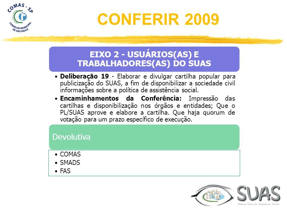 EIXO 2 - USUÁRIOS(AS) E TRABALHADORES(AS) DO SUAS Deliberação 19 - Elaborar e divulgar cartilha popular para publicização do SUAS, a fim de disponibil