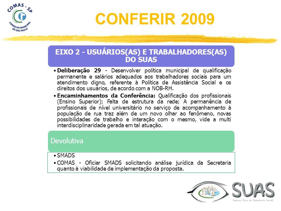 EIXO 2 - USUÁRIOS(AS) E TRABALHADORES(AS) DO SUAS Deliberação 29 - Desenvolver política municipal de qualificação permanente e salários adequados aos