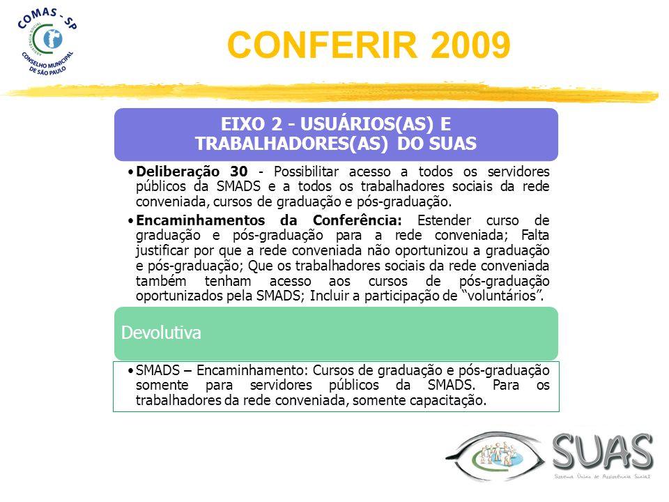 EIXO 2 - USUÁRIOS(AS) E TRABALHADORES(AS) DO SUAS Deliberação 30 - Possibilitar acesso a todos os servidores públicos da SMADS e a todos os trabalhado