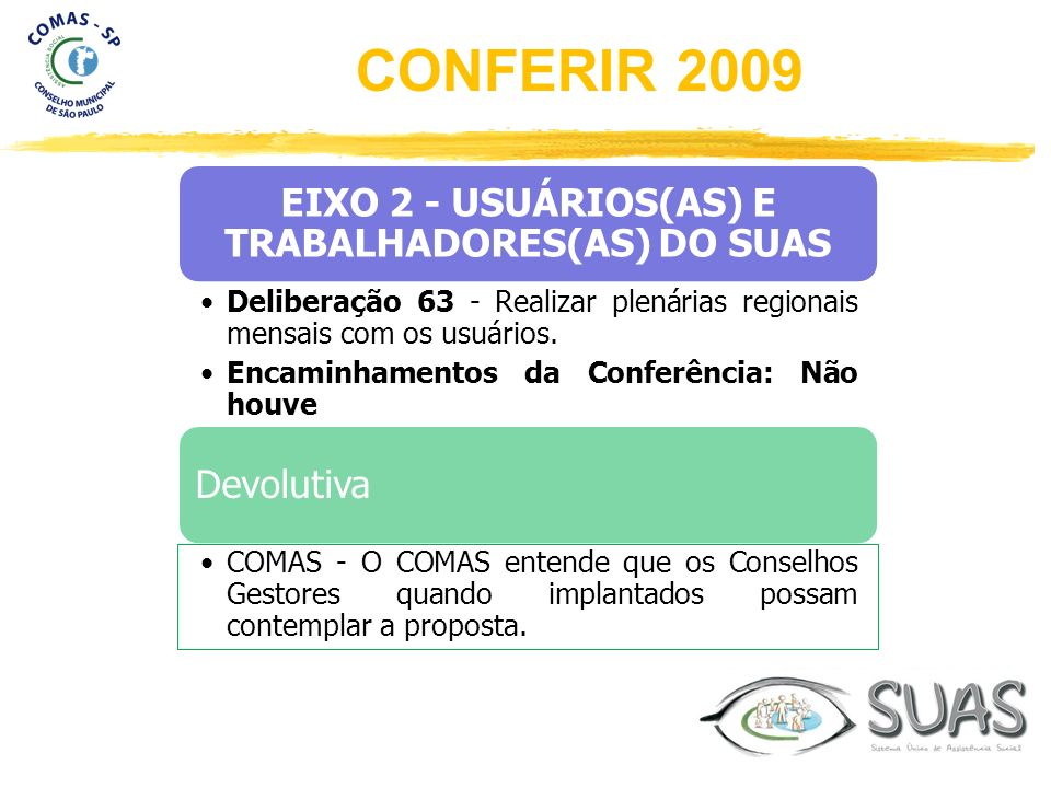 EIXO 2 - USUÁRIOS(AS) E TRABALHADORES(AS) DO SUAS Deliberação 63 - Realizar plenárias regionais mensais com os usuários. Encaminhamentos da Conferênci